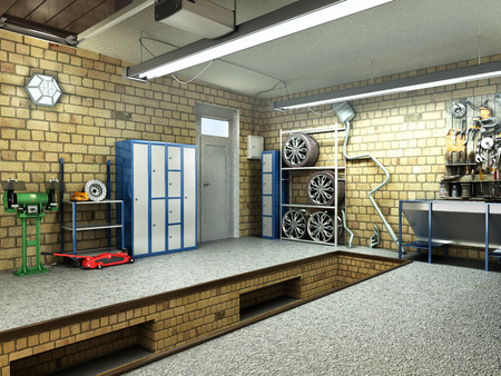 View of a Garage 3D Interior with Opened Roller Door 3D Rendering Archivio Fotografico