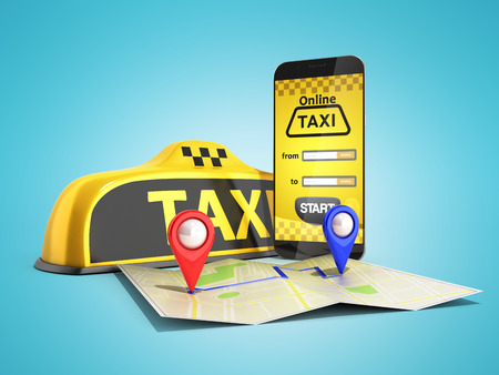 Ordering a taxi cab online internet service transportation concept navigation pin pointer with checker pattern and yellow taxi and phone 3d render on color background