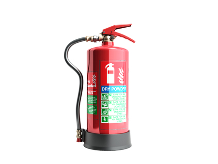 Dry power Fire extinguisher 3d render on white background no shadow