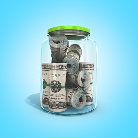 safe concept Many 100 US dollars bank notes in a glass jar 3d render on blue background