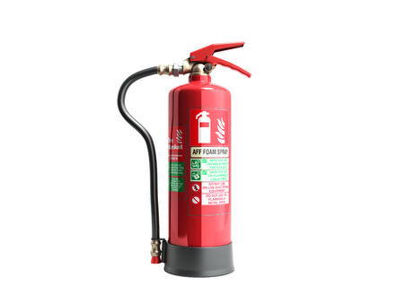 aff foam spray Fire extinguisher 3d render on white background no shadow