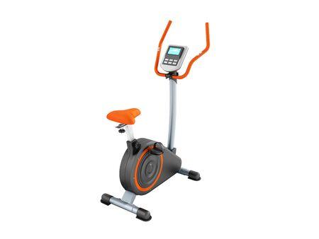 modern sport exercise bike yellow purple 3d render on white background no shadow