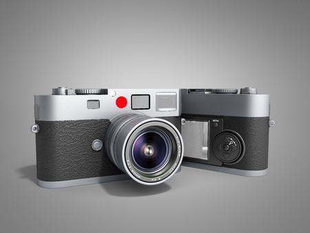 photo cameras 3d render on grey