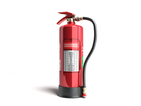 Fire extinguisher inspection record 3d render on white background