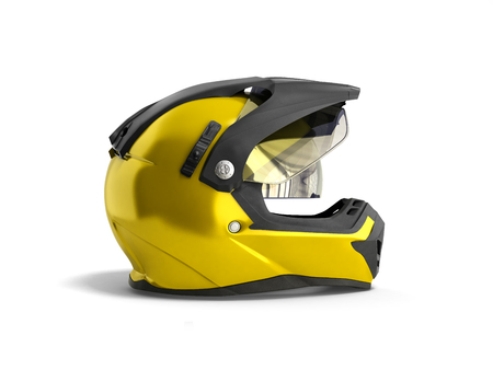 gele motorcross helm 3d render op witte achtergrond Stockfoto