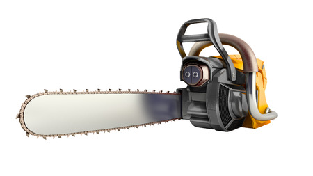 Chainsaw on white background 3d illustration no shadow