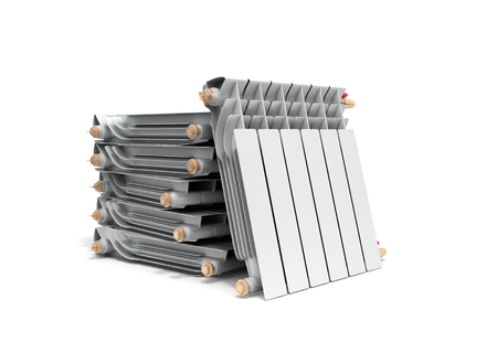 heating radiators in stack on white 3D rendering