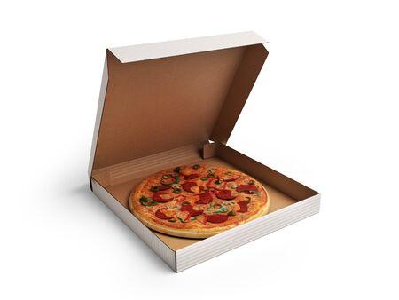 Delicious italian pizza in dox 3d render over white