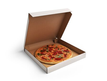 Delicious italian pizza in dox 3d render over white Foto de archivo - 94531557