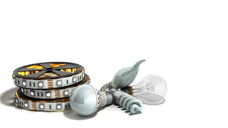 different Lighting Bulbs set 3d render on white background Stock Photo