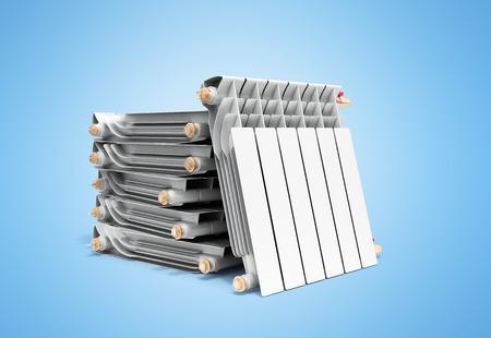 heating radiators in stack on blue 3D rendering