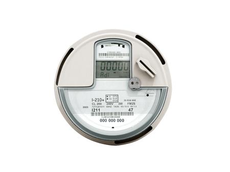Modern digital electric meter 3d render on white no shadow