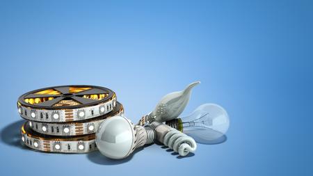 different Lighting Bulbs set 3d render on blue background