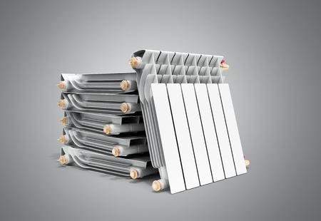 heating radiators in stack on grey 3D rendering