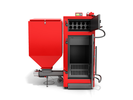 Solid fuel boiler 3D rendered image in white