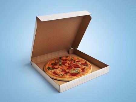 Delicious italian pizza in dox 3d render over blue gradient