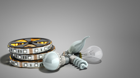 different Lighting Bulbs set 3d render on grey background Stock Photo