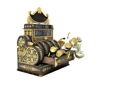 Old vintage cash register with flying money and coins 3d render on white background no shadow