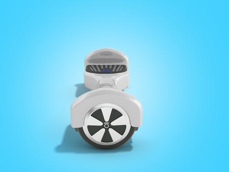 Giroboard white giroboard on blue background Hoverboard Gyroscooter Electric board Modern transportation 3d render