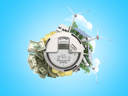 concept of energy saving the meter of electricity with solar panels and a windmill  money dollar bills 3d render on blue no shadow