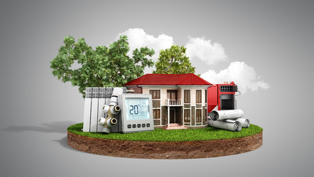 concept of energy saving house on a piece of land near wood boiler batteries thermostat temperature controller 3d render on grey