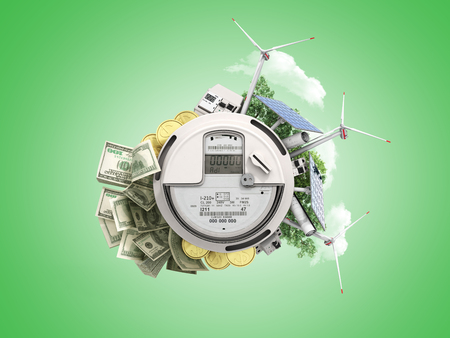 concept of energy saving the meter of electricity with solar panels and a windmill  money dollar bills 3d render on green no shadow Stock Photo
