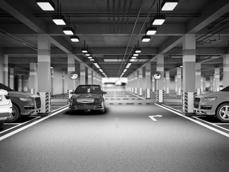 Empty modern underground parking 3d render Stock Photo