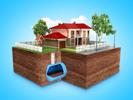 concept van riolering in een prive-woning 3D render op blauw