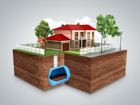 concept of Sewerage in a private house 3d render on grey Stock Photo
