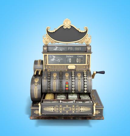 Open Old vintage cash register 3d render on blue background