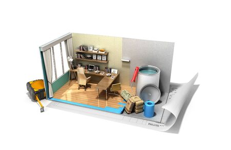 Concept of repair work isometric low poly home room renovation icon 3d render on white Banque d'images
