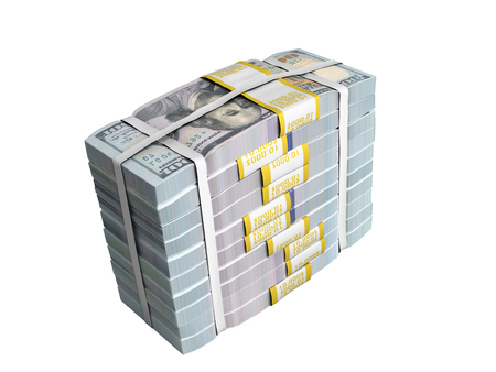 concept of money Deposite Big Stack of dollar bills Cash With Bow 3d render on white no shadow