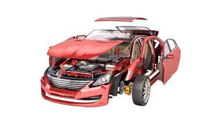 Details of the red car on a white gradient background 3D render no shadow Stock Photo