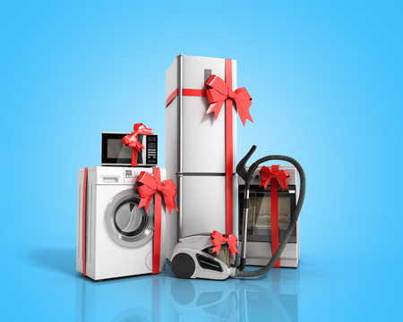 Home appliances as a gift Group of white refrigerator washing machine stove microwave oven vacuum cleaner with red strip on blue background 3d