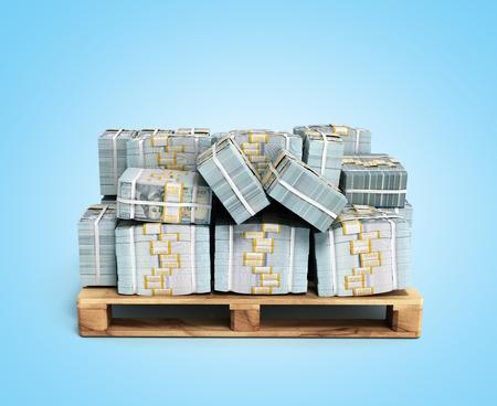 Stack of dollar money bills on wooden pallet 3d render on blue background