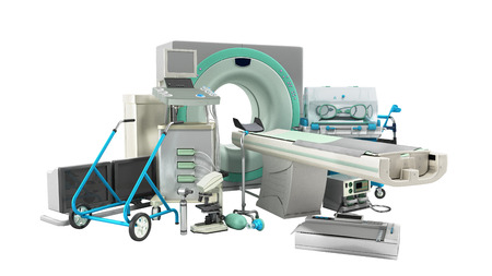 Modern technology in the medical technic 3d render on white no shadow