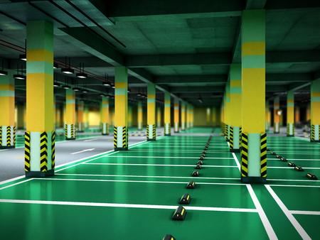 Empty modern underground parking 3d render Stock fotó