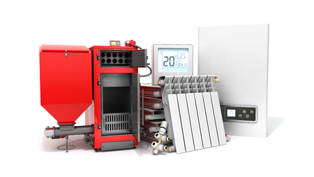 modern concept heating saving solid fuel boiler battery electric boiler and thermostat 3d render on a white background Stock Photo