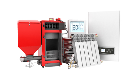 modern concept heating saving solid fuel boiler battery electric boiler and thermostat 3d render on a whiute background no shadow