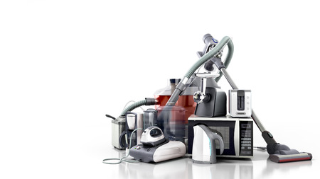 Home appliances Group of vacuum cleaner microwave iron coffee maker steam kettle toaster meat grinder isolated on white background 3d Stock Photo