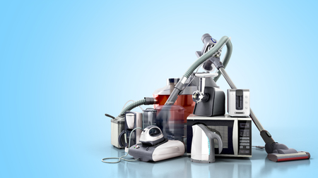 Home appliances Group of vacuum cleaner microwave iron coffee maker steam kettle toaster meat grinder isolated on blue background 3d