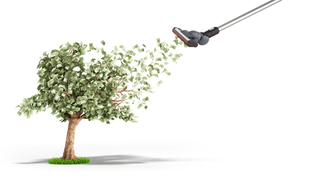 modern concept of profit The vacuum cleaner draws dollar bills growing on a money tree 3d render on white