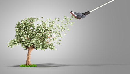 modern concept of profit The vacuum cleaner draws dollar bills growing on a money tree 3d render on grey Фото со стока
