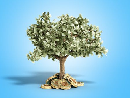 The modern concept of profit from investing in bitcoin 3d render on blue Stock Photo