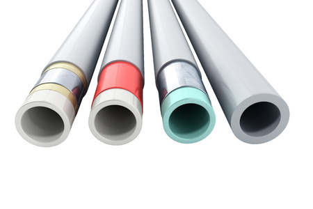 different plastic water pipes in layers 3d render on white