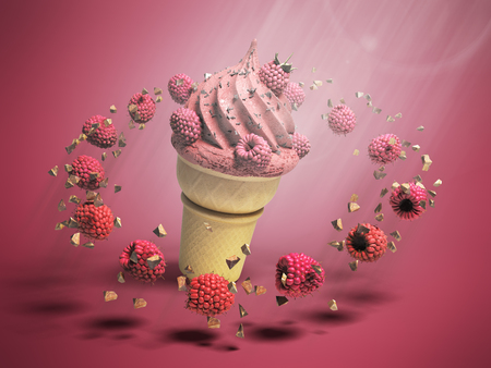 ice cream with raspberries and chocolate crumbs in a waffle cup 3d render on color