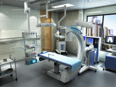 equipment and medical devices in modern operating room 3d render interior Stock fotó