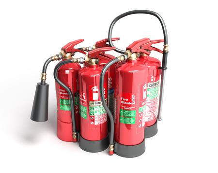 Fire extinguishers isolated on white background Various types of extinguishers 3d illustration