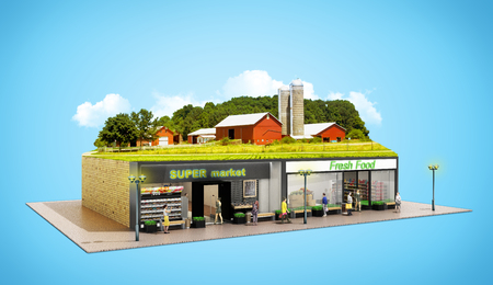 the concept of ecologically pure food showcases grocery supermarkets with a farm on the roof 3d render on blue