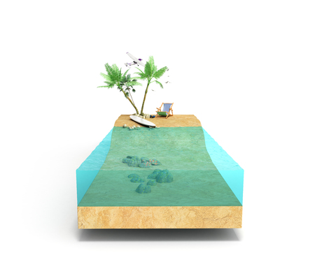 Piece of tropical island with water and palms on a beach in cross section Unusual travel 3d illustration Isolated on white